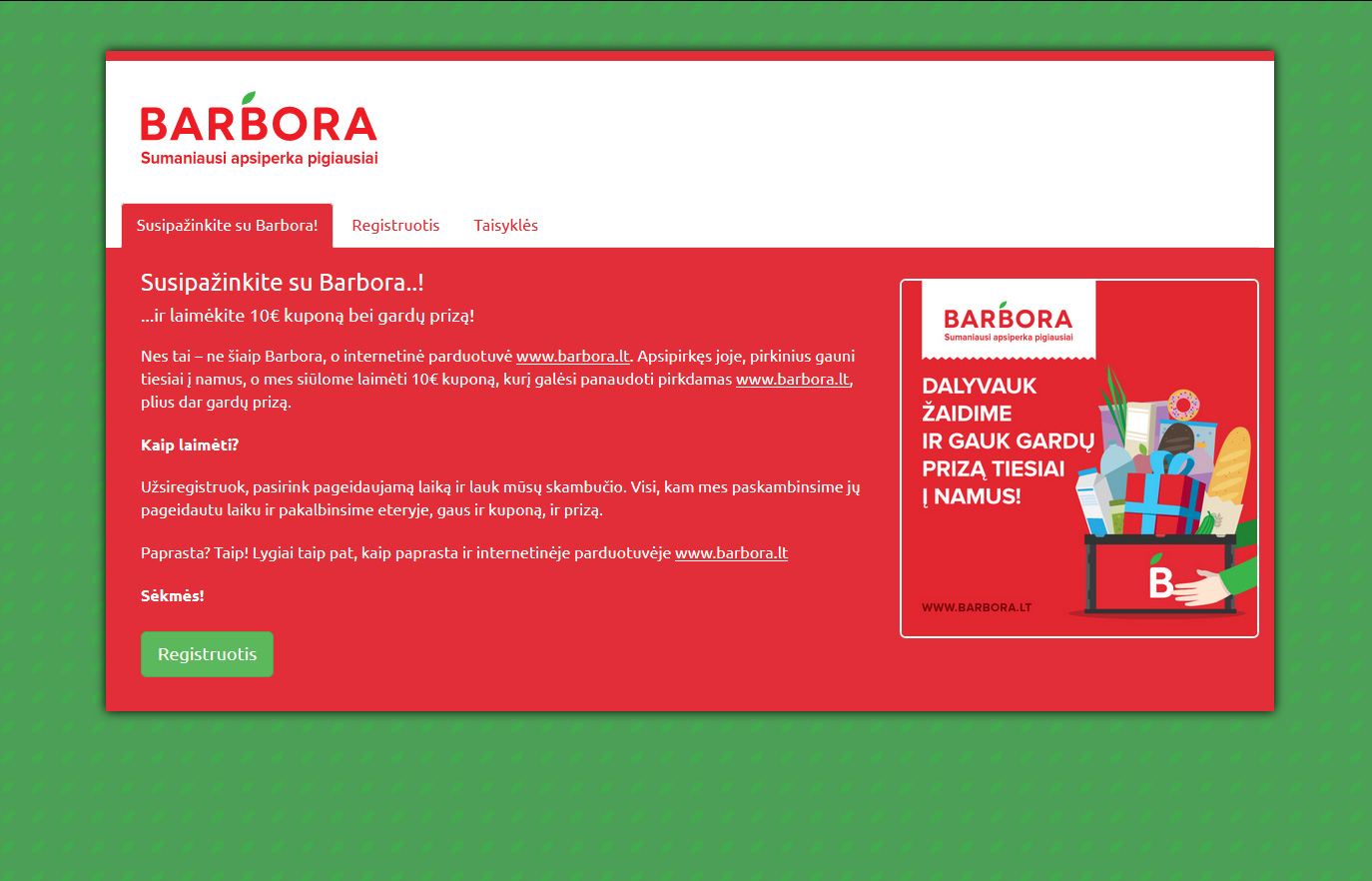 Barbora - online contest and landing page